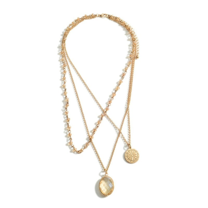 Champagne & Gold Triple Layered Necklace