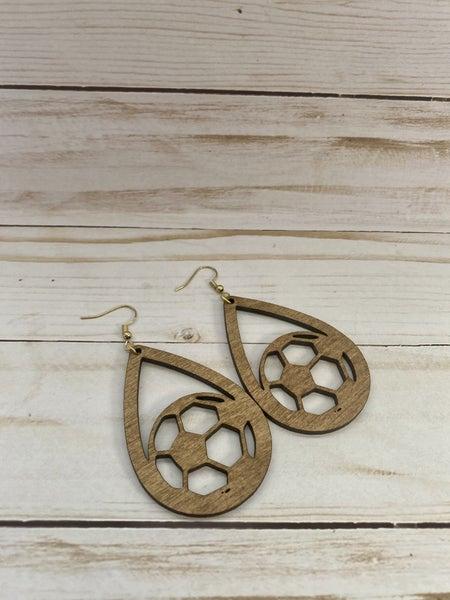 PREORDER Wooden Soccer Earrings