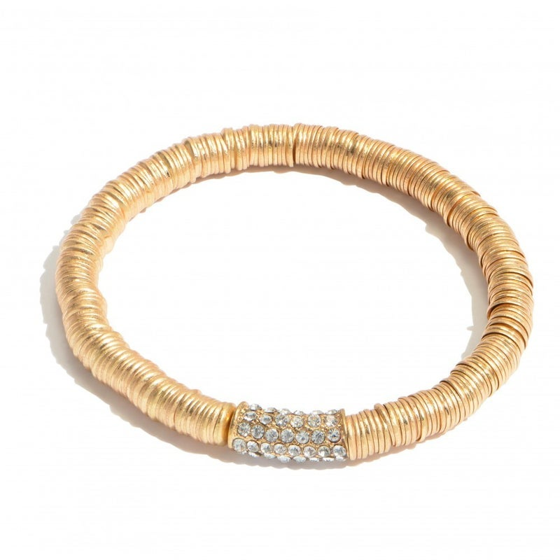 Take Me by the Hand Flat Bead Bracelet - Gold