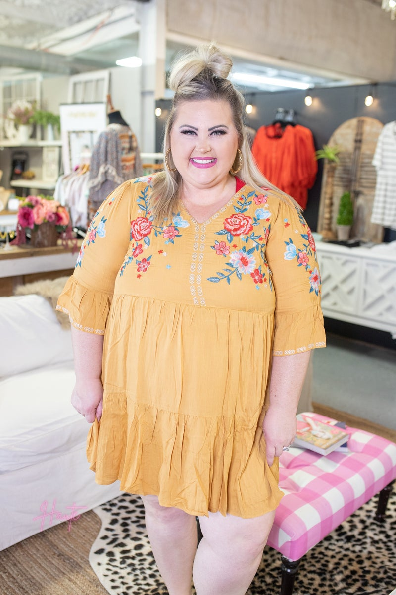 Marigold Embroidered Babydoll Dress