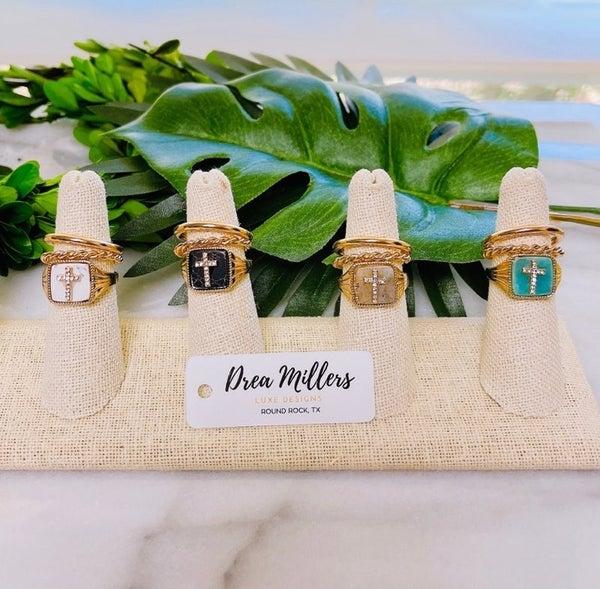 DM Gold Cross Stone Ring