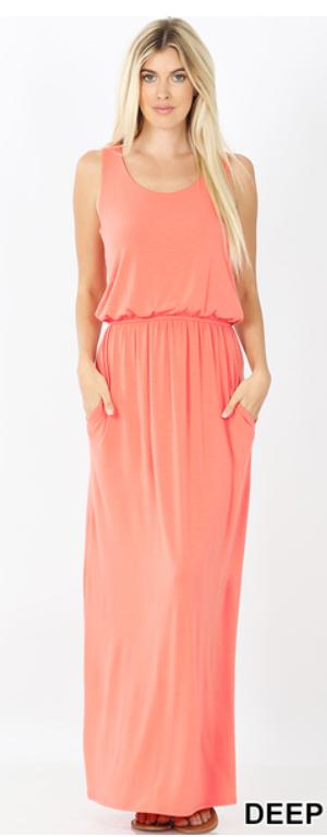 Bubble Top Maxi Dress - Deep Coral