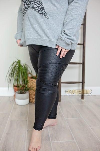 Foil Black Moto Leggings