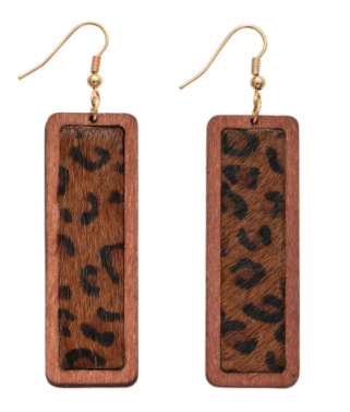 Wooden Leopard Print Bar Drop Earrings
