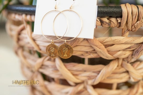 LP Coin Hoop Earrings