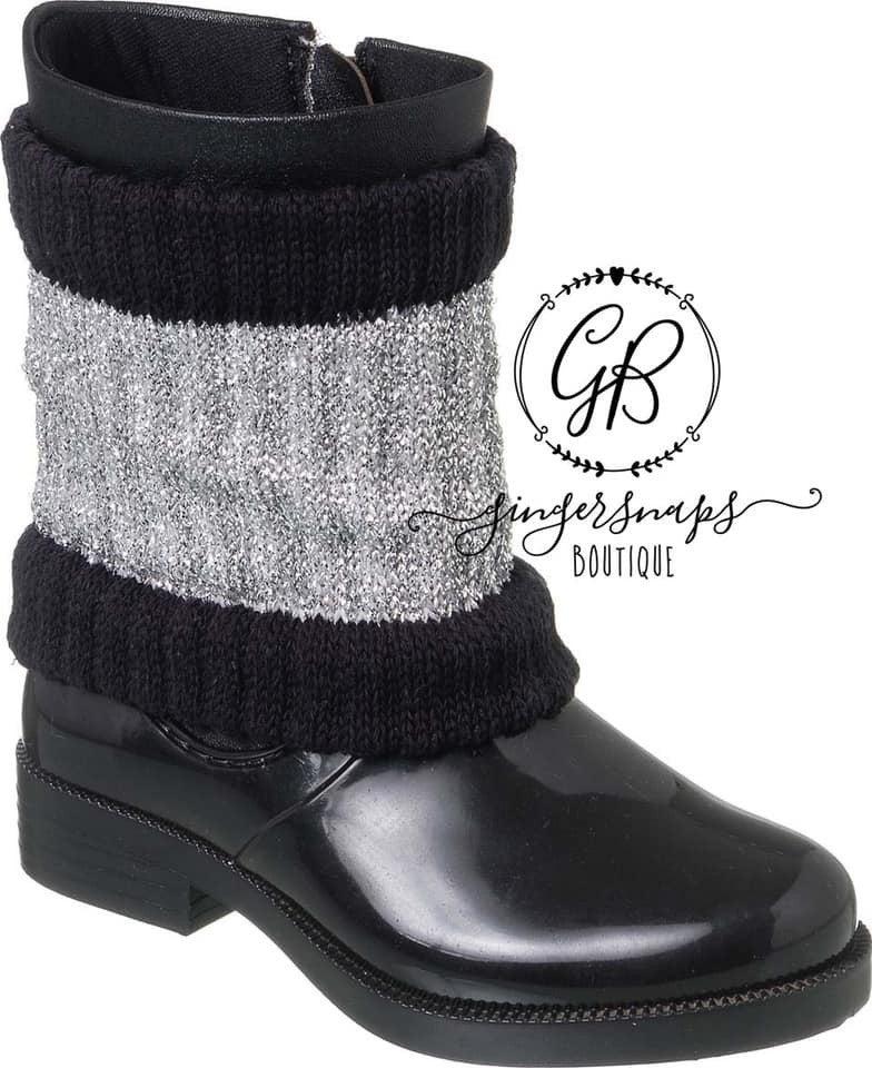 Black and Grey Girls Rain Boot