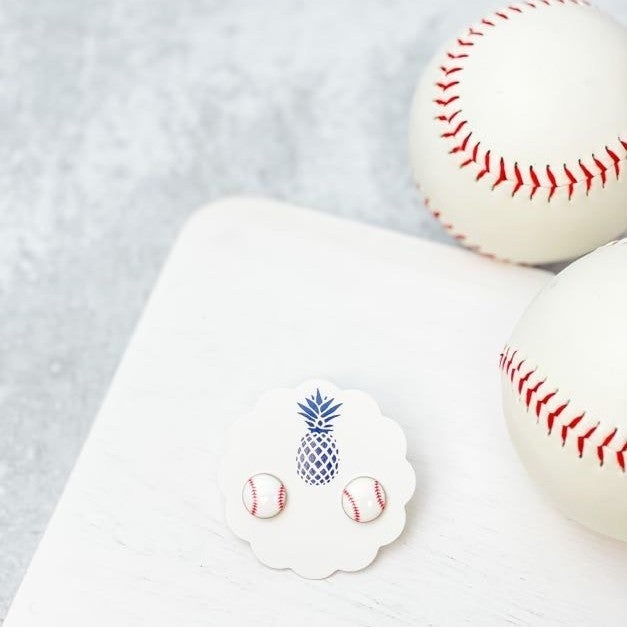 Baseball Enamel Stud Earrings