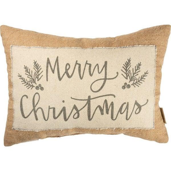 Merry Christmas Jute Pillow