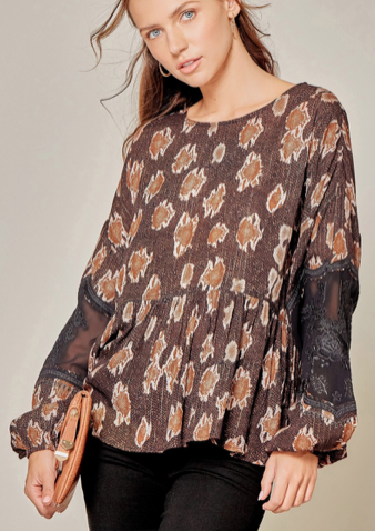 SJ Mocha Top with Lace Sleeves