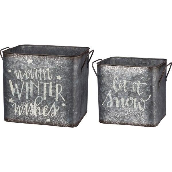 Winter Wishes Metal Bin Set