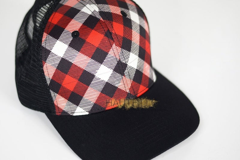 Red Black and White Plaid Hat""