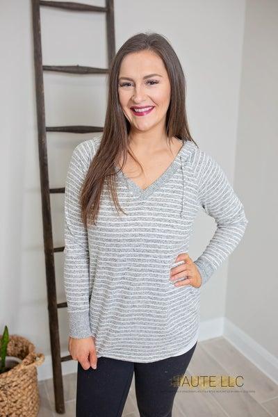 LG Cozy Stripes V-Neck Sweater