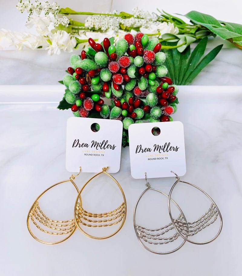 Beaded Chain Teardrop Earrings