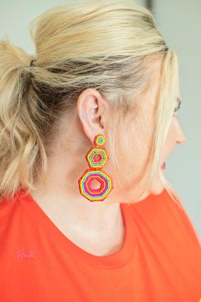 Geometric Beaded Statement Earrings