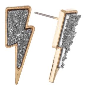 Lightning Bolt Druzy Stud Earrings