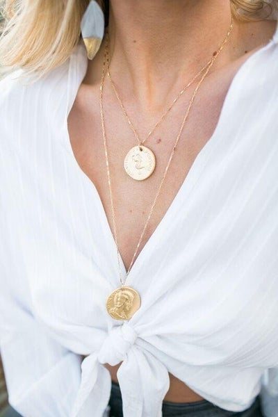 LP Two Layer Double Coin Necklace