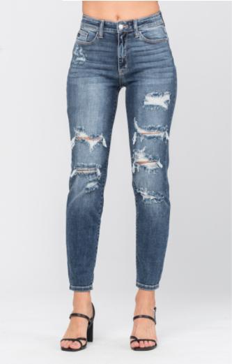 JB High Rise Distressed Boyfriend Jeans