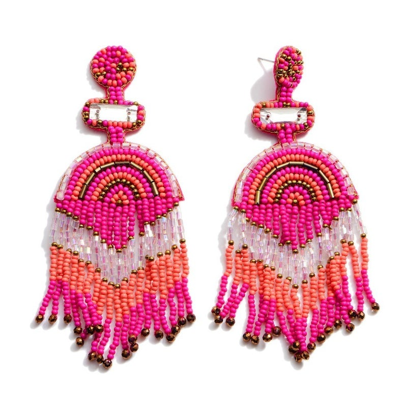 Fuchsia Statement Tassel Earrings