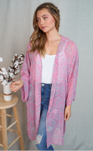 Kaleidoscope Kimono - Pink