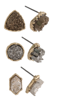 Druzy Stone Stud Earring Set