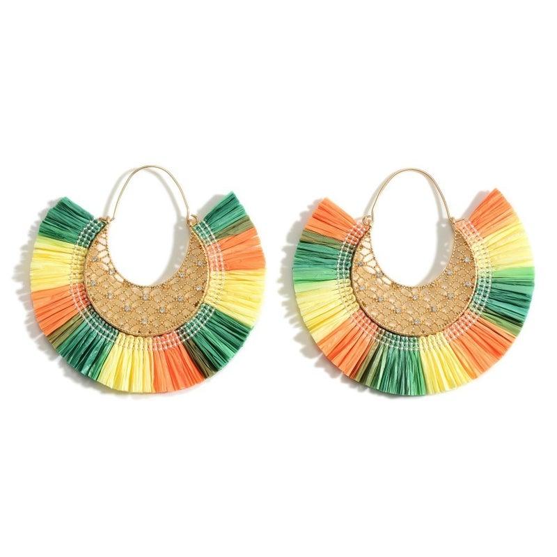 Raffia Gold Threader Earrings - Tri Color
