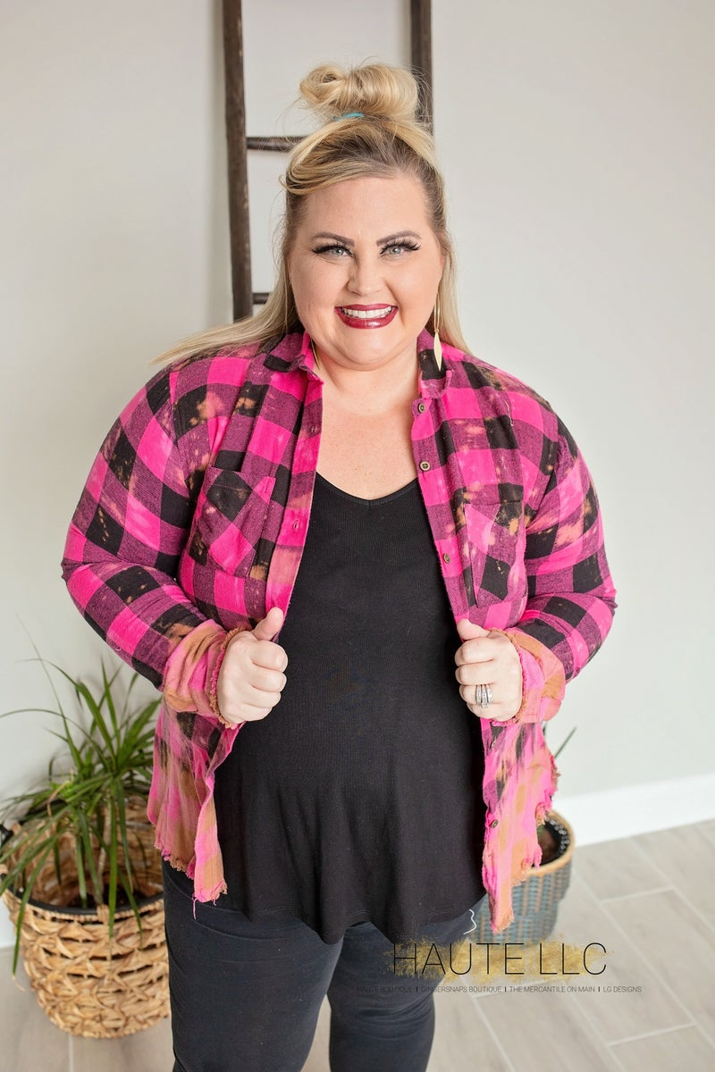 Pink & Black Checker Flannel