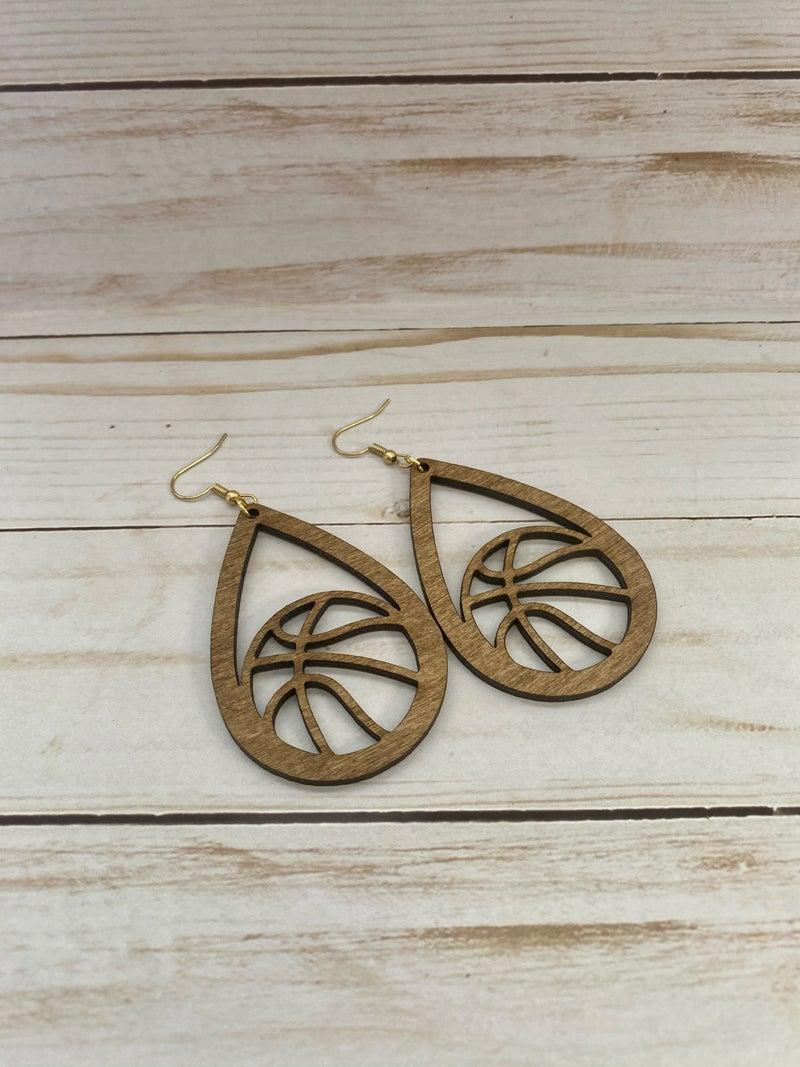 PREORDER Wooden Basketball Earrings