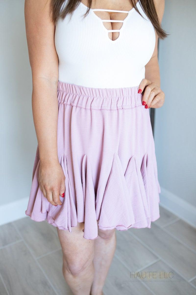 Ruffle Mini Skirt- Dusty Pink *Final Sale*