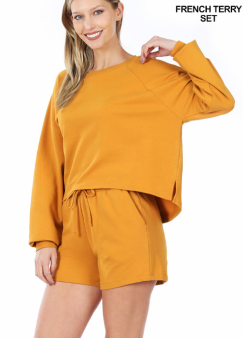 Golden Mustard French Terry Sweater & Shorts Set