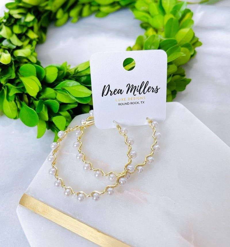 DM Gold and Pearl Hoops