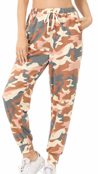 French Terry Camo Joggers - Almond
