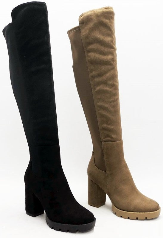 TC Knee High Chunky Boots - Taupe