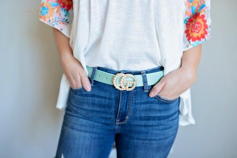GG Inspired Pearl Buckle Belt