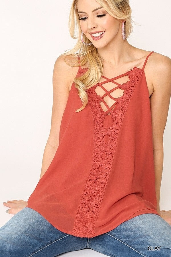 Kalahari Nights Lacey Lattice Top CLAY