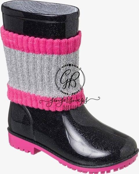 Pink and Black Girls Rain Boot