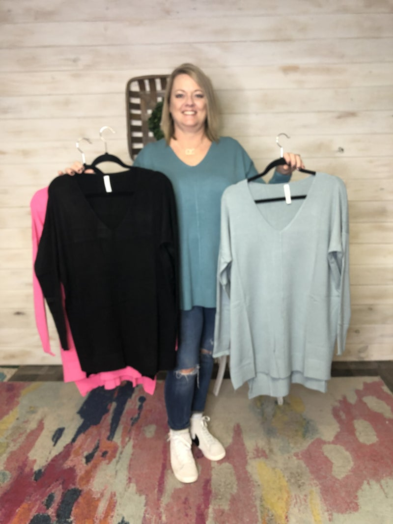 V-Neck Sweater with Front Seam Detail