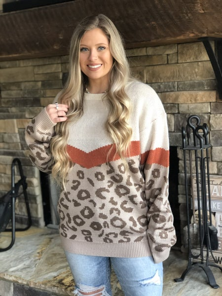 Wanna B Leopard/Rust Sweater