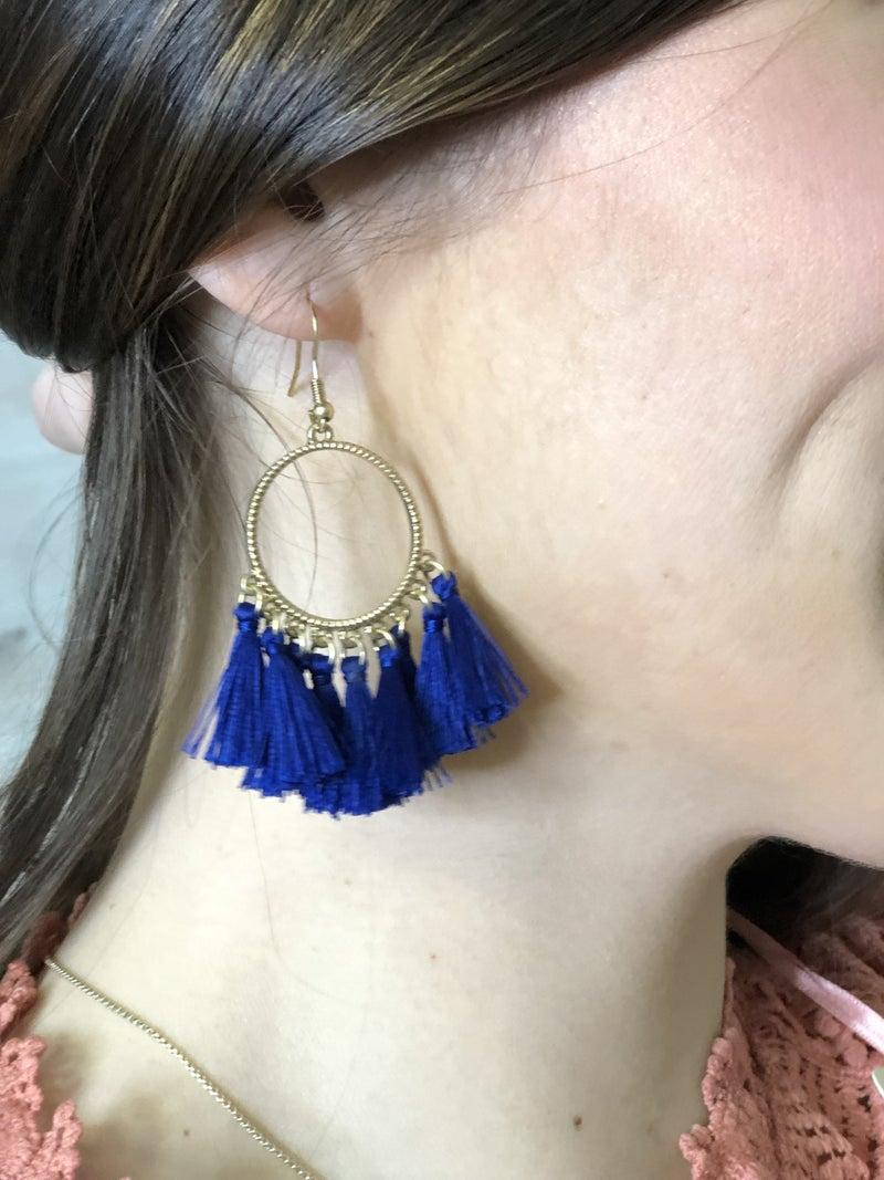 Circle Fringe Earrings (Royal, Pink, Turquoise) *Final Sale*