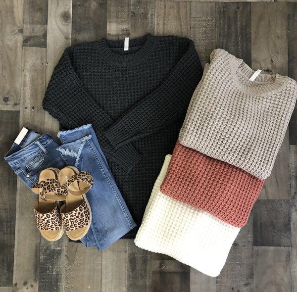 Zenana Thick Waffle Sweater