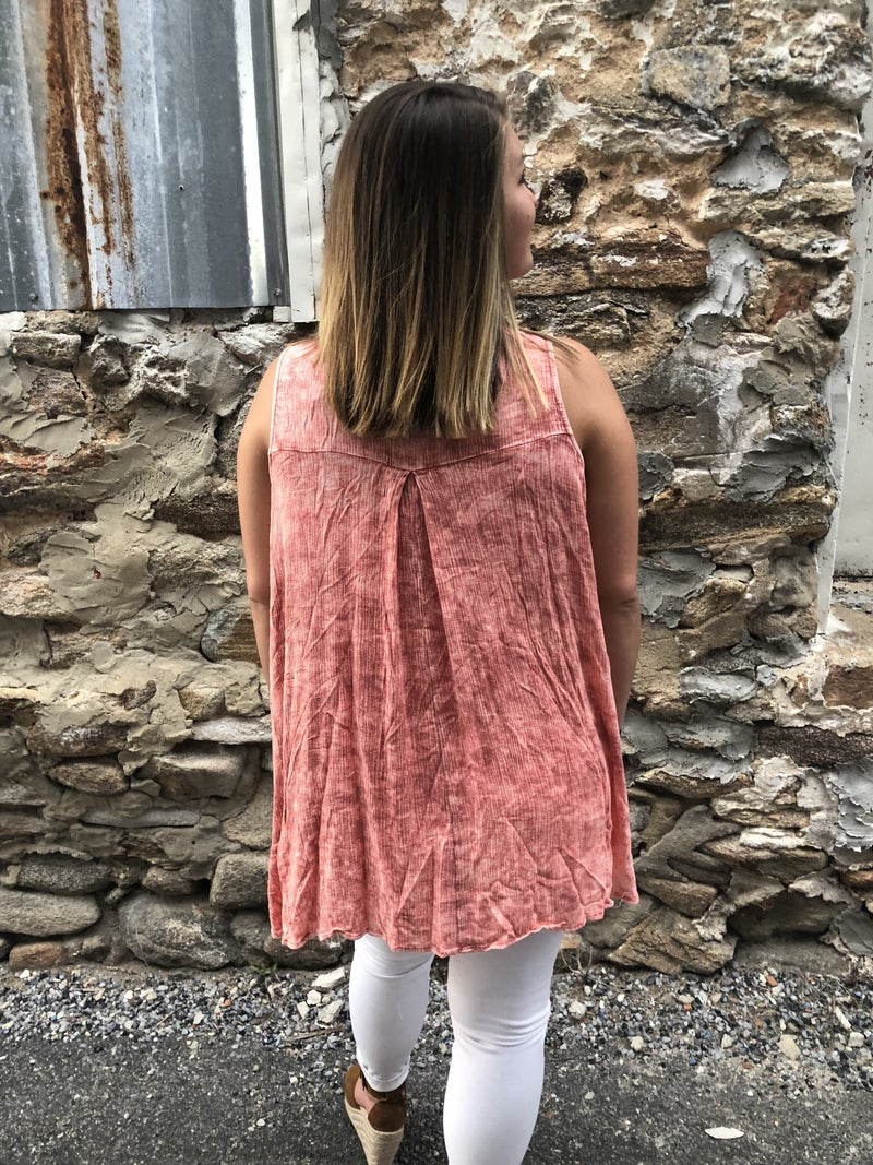 Mineral Wash Sleeveless Top *Final Sale*