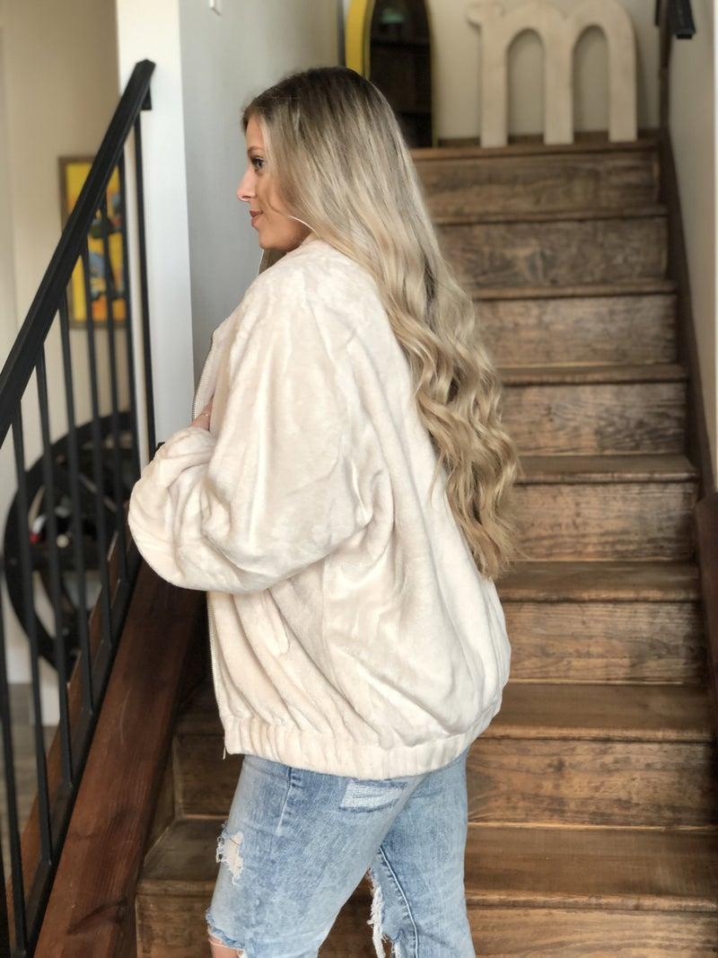 Faux Knit Zippered Jacket