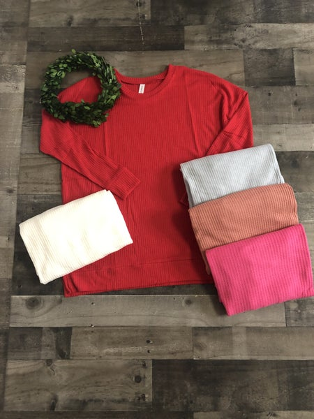 Round Neck Waffle Thermal Top