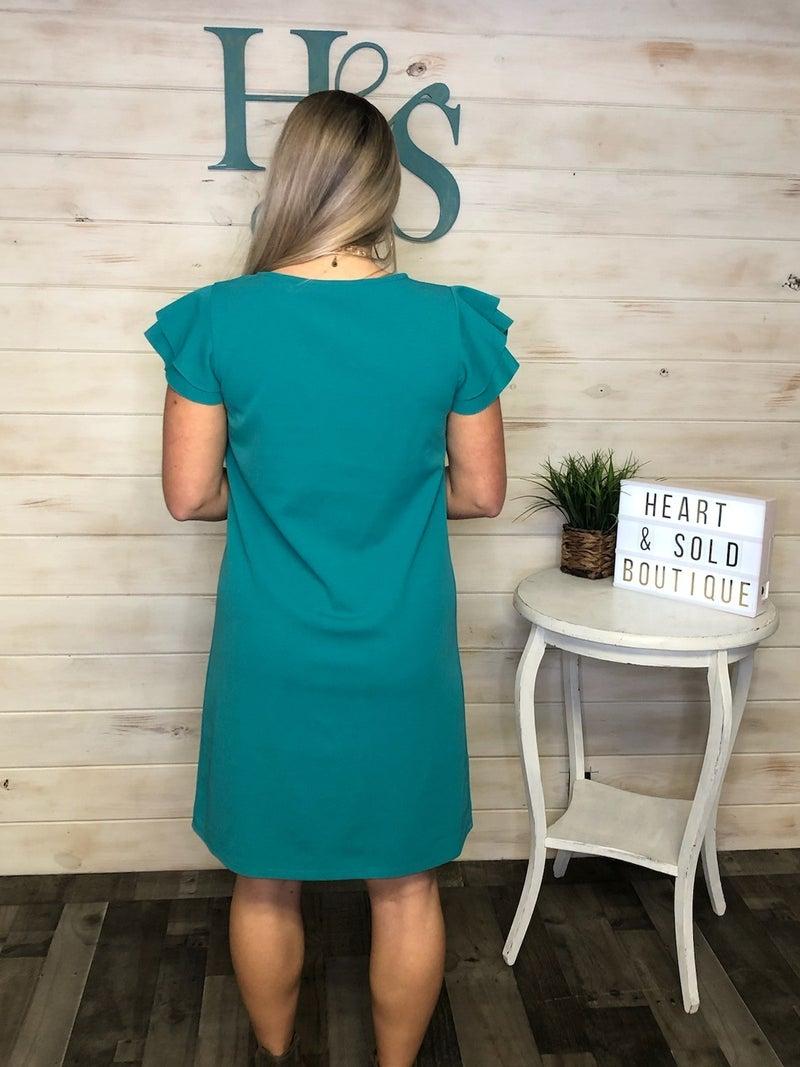 Ces Femme Flutter Sleeve Dress