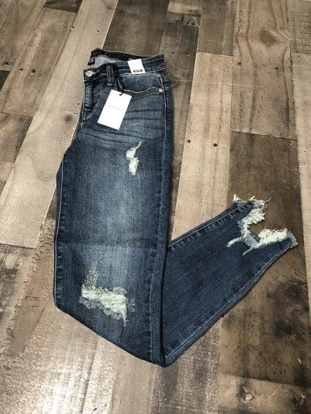 Judy Blue Destroyed Hem Skinny Jeans
