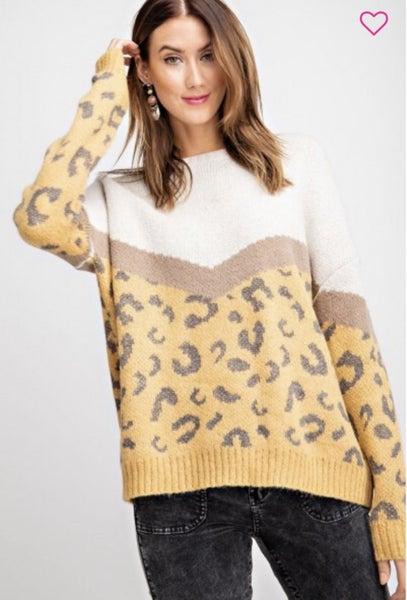 Easel Mustard/ Leopard Sweater