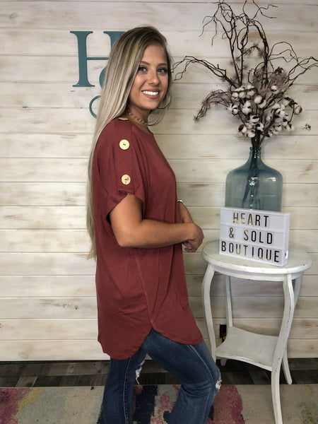 Basic Top with Button Detail on Sleeve
