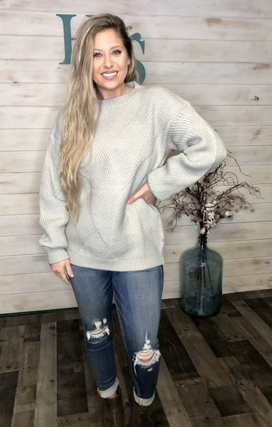 Grey Ribbed Detail Sweater