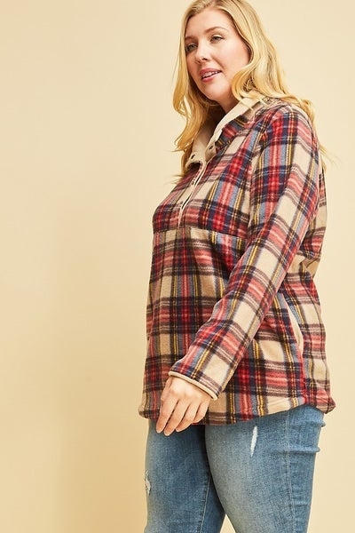 Plus Plaid Fleece Pullover *Final Sale*