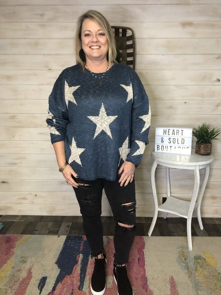 Easel Teal Star Sweater