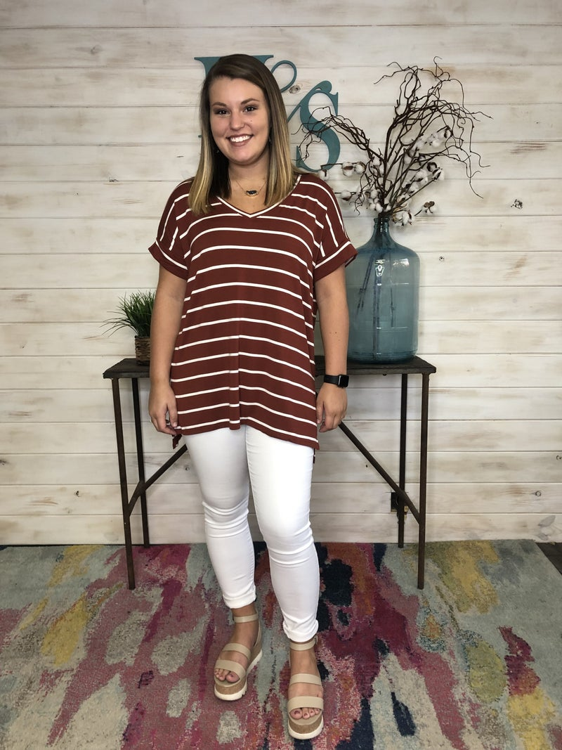 Basic Stripe Top in 5 Fall Colors!